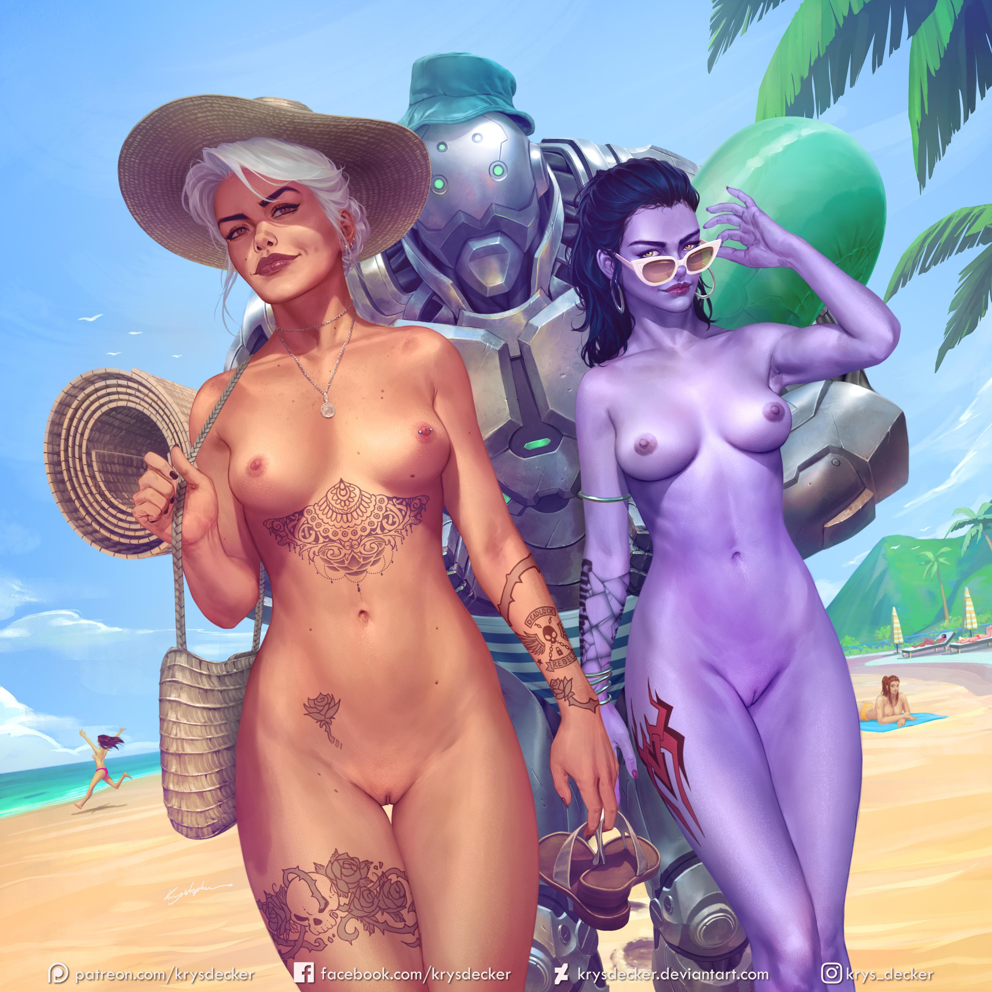 2girls alternate_costume areolae ashe_(overwatch) beach big_breasts blizzard_entertainment bob_(overwatch) breasts completely_nude cote_d'azur_widowmaker cyborg detailed_background digital_media_(artwork) earrings female female_focus hat hi_res highres krysdecker legs light_skin long_hair looking_at_viewer navel necklace nipple_piercing nipples nude outdoors overwatch purple_hair purple_skin pussy sunglasses tattoo thick_thighs thigh_gap thighs vagina white_hair widowmaker